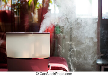 Humidifier spreading steam into the living room