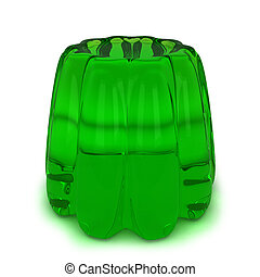 Green jelly. 3d illustration isolated on white background