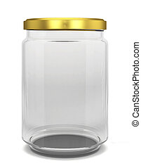 Glass jar 3d illustration isolated on white background