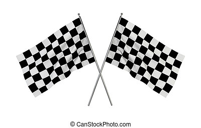 Racing flags 3d illustration isolated on white background