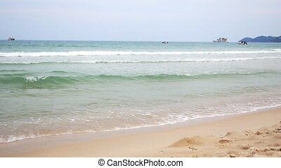 Thailand Beach with Big Waves. Beautiful Windy Naval Seascape of Tropical Island.