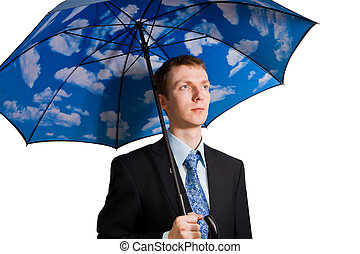 Man with umbrella - Young man with clouds on his umbrella