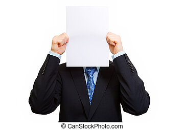 Add smile - Young businessman holding white sheet of paper