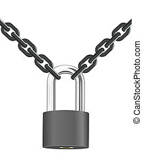 Vector steel chain with lock