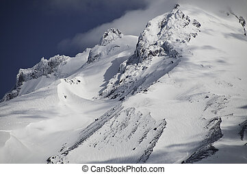 Mount Hood in June 2009 A close up view of the peaks and the...