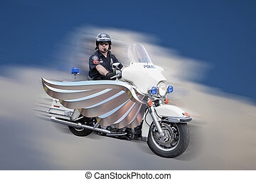 Police Motorcycle Cop in Clouds - Police officer on his...