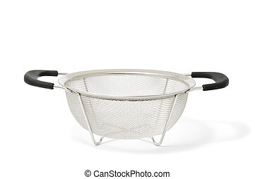 Colander - A colander with two handles isolated on a white...