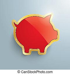 Golden Piggy Bank Silver Background - Golden piggy bank on...