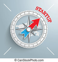 Compass Startup - White compass with red text Startup on the...