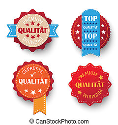 "Premium Quality Labels - 4 labels with german text ""Premium,..."