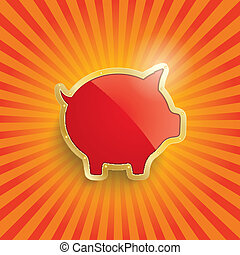 Golden Piggy Bank With Flag Retro Sun - Golden piggy bank...