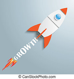 Paper Rocket Growth - Paper rocket on the grey background