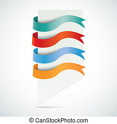 White Board 4 Colored Flags - Infographic with white board...