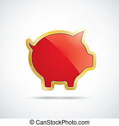 Golden Piggy Bank - Infographic with golden piggy bank on...