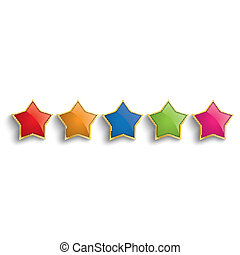 Colored Golden Stars - Golden stars on the white background....