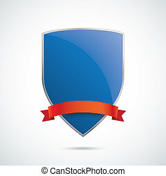 Blue Silver Protection Shield Red Flag - Infographic with...