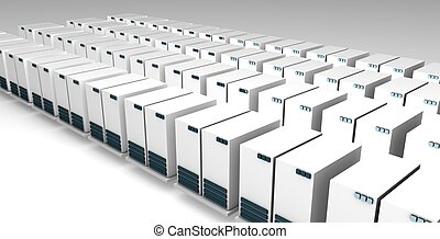 Server Farm Center Technology in 3D Perspective