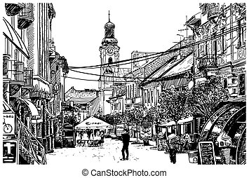 illustration of Uzhgorod cityscape - digital sketch vector...
