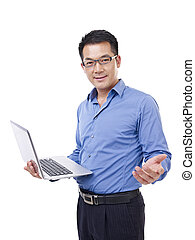 asian businessman - businessman holding laptop computer,...