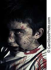 Zombie with knife in mouth - Hungry zombie with knife in his...