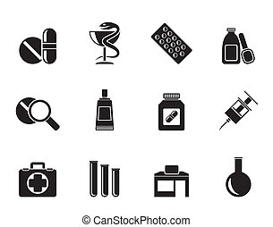 Pharmacy and Medical icons - Silhouette Pharmacy and Medical...