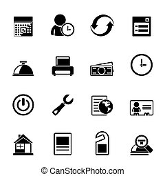 reservation and hotel icons - Silhouette reservation and...