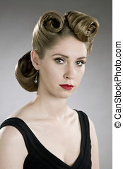 fifties hairdo - beautiful blond model with fifties glamour...