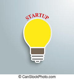 Bulb Startup - Infographic design with bulb on the grey...