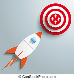 Rocket Marketing - Paper rocket on the grey background.