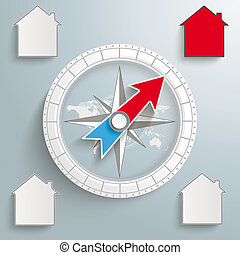 Compass Proper Real Estate - White compass with houses on...