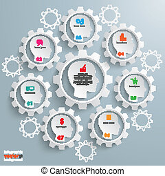 Manger Workflow 7 Heads - Gear machine with 7 heads on the...