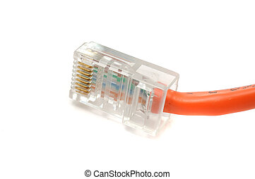Ethernet Cable Connector - An Ethernet cable connector on a...