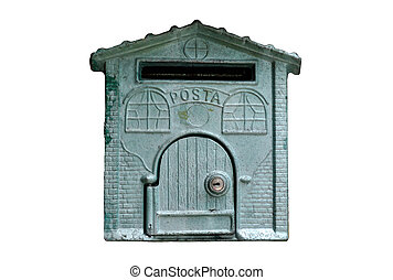 postbox  - vintage postbox on white background