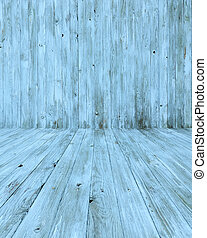 Empty Blue Wooden Room - An empty blue wooden room as a...