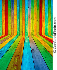 Multicolored Wooden Room - A creative multicolored wooden...