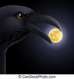 Black raven - Black crow holding in its beak a moon