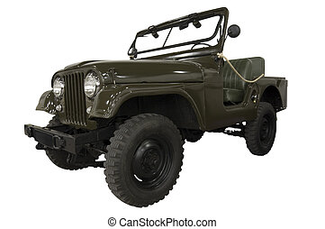 Vintage Army Jeep Isolated on White (Path Included)