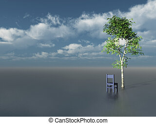 lonely tree and chair in front of blue cloudy sky - 3d...