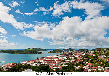View of Charlotte Amalie, St. Thomas in the U.S. Virgin...