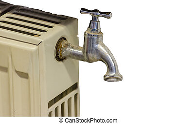 Strange radiator with water tap