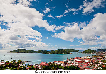 View of Charlotte Amalie, St Thomas in the US Virgin Islands...