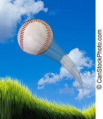 Home Run Baseball. - Baseball flying high and fast over...