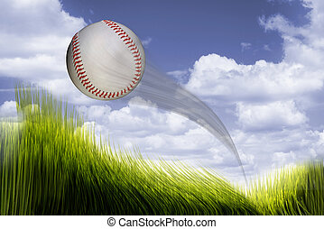 Home Run Baseball. - Baseball flying high and fast over...