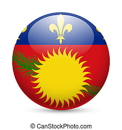 A badge in colours of Guadeloupe flag - A round badge in the...