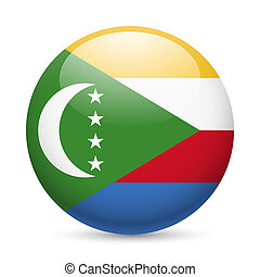 A badge in colours of The Comoros flag - A round badge in...