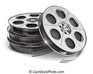 Film reels on white isolated background 3d