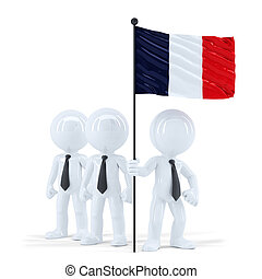Business team holding flag of France. Isolated. Contains clipping path