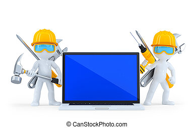 Industrial worker with laptop. Isolated. Contains clipping path