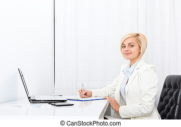 businesswoman writing contract, signing document -...