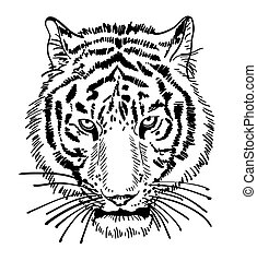 artwork of tiger face portrait, head silhouette, black and...